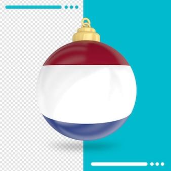 Renderização 3d da bandeira da holanda do natal isolada