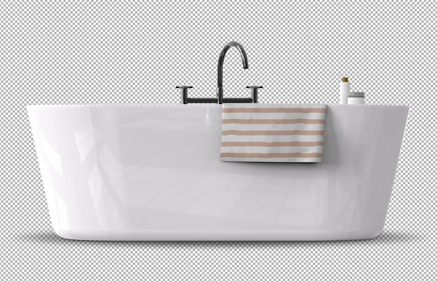 Renderização 3d da banheira com toalha isolada