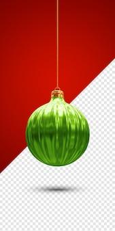 Renderização 3d da bola verde do natal isolada