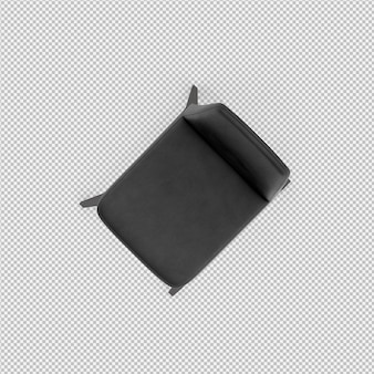 Renderização 3d da cadeira isométrica