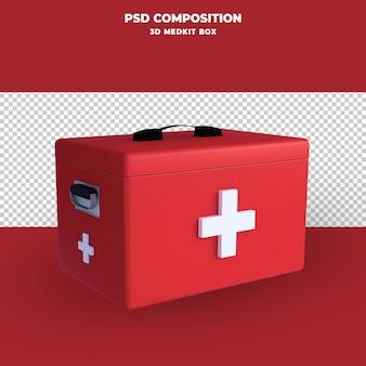 Renderização 3d da caixa do kit médico isolada