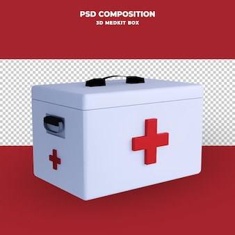 Renderização 3d da caixa do kit médico