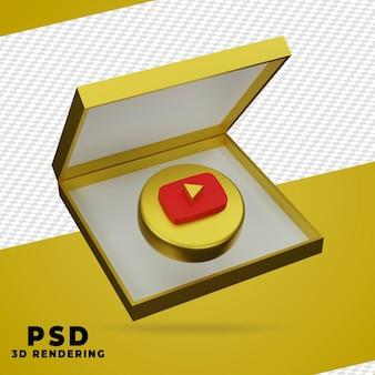 Renderização 3d da caixa dourada do youtube isolada Psd Premium
