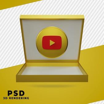 Renderização 3d da caixa dourada do youtube isolada