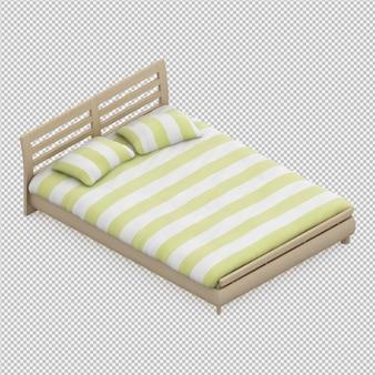 Renderização 3d da cama isométrica