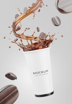 Renderização 3d da caneca de café com realística e maquete do respingo do café