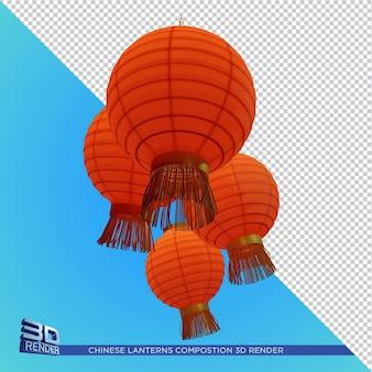 Renderização 3d da composição das lanternas chinesas