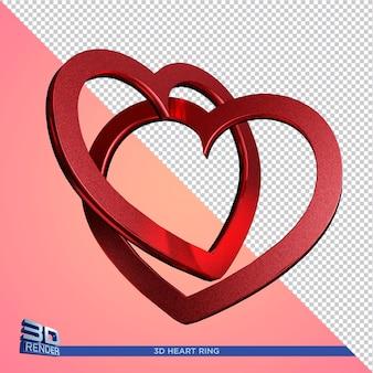Renderização 3d da composição do coração isolada