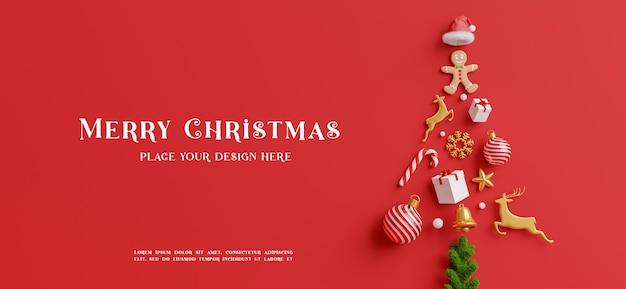 Renderização 3d da decoração da árvore de natal com conceito de feliz natal para a exibição do seu produto
