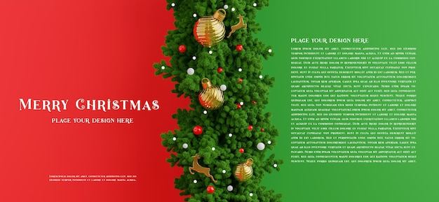Renderização 3d da decoração da guirlanda de natal com conceito de feliz natal para a exibição do seu produto