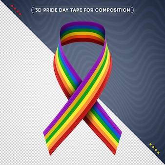 Renderização 3d da fita colorida do dia do orgulho