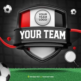 Renderização 3d da frente do escudo para esporte e torneio