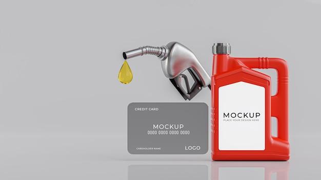 Renderização 3d da garrafa de óleo do motor com cartão de crédito para exibição do produto