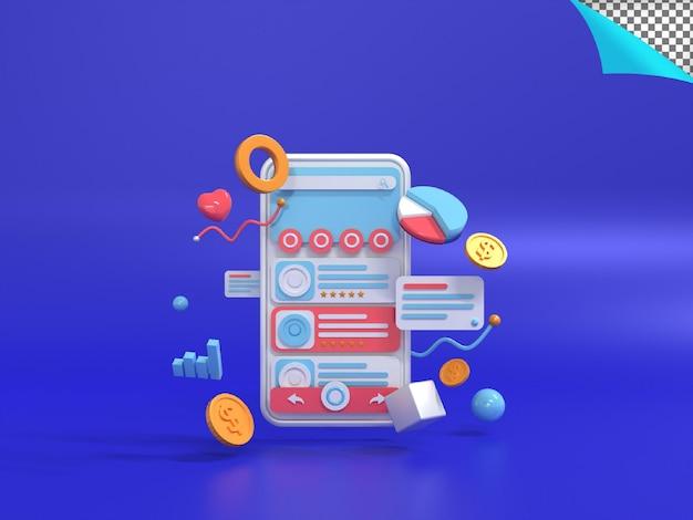 Renderização 3d da ilustração de marketing digital