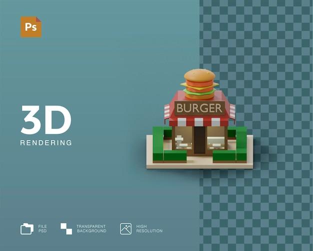 Renderização 3d da ilustração do edifício do hambúrguer