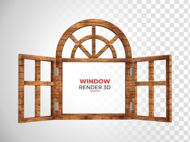 Renderização 3d da janela de madeira