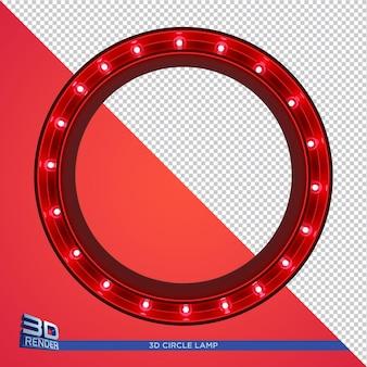 Renderização 3d da lâmpada do círculo para elementos do party flyer