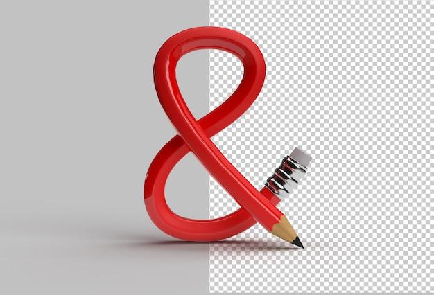 Renderização 3d da letra da fonte bent pencil s logo arquivo psd transparente.