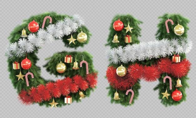 Renderização 3d da letra g e da letra h da árvore de natal