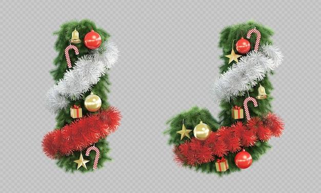 Renderização 3d da letra i e da letra j da árvore de natal