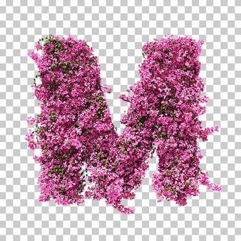 Renderização 3d da letra m de buganvílias