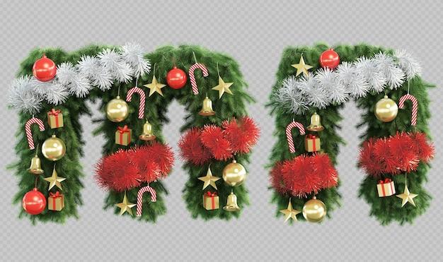 Renderização 3d da letra me da letra n da árvore de natal