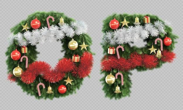Renderização 3d da letra o e da letra p da árvore de natal