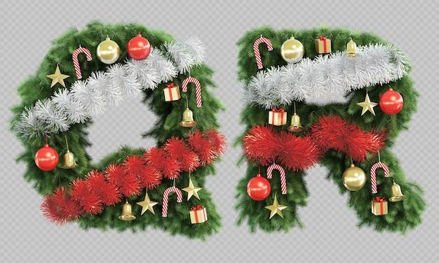 Renderização 3d da letra q e da letra r da árvore de natal