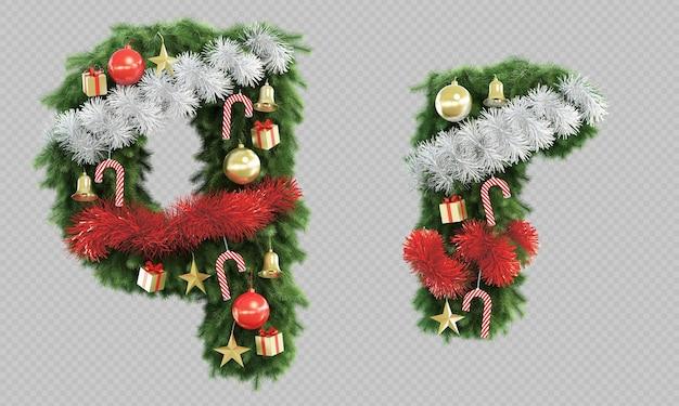 Renderização 3d da letra q e letra r da árvore de natal