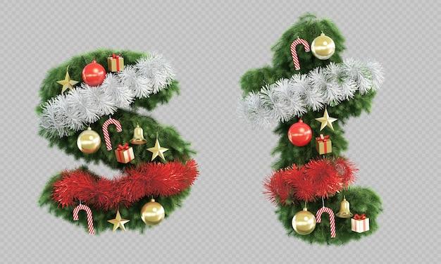 Renderização 3d da letra se da letra t da árvore de natal
