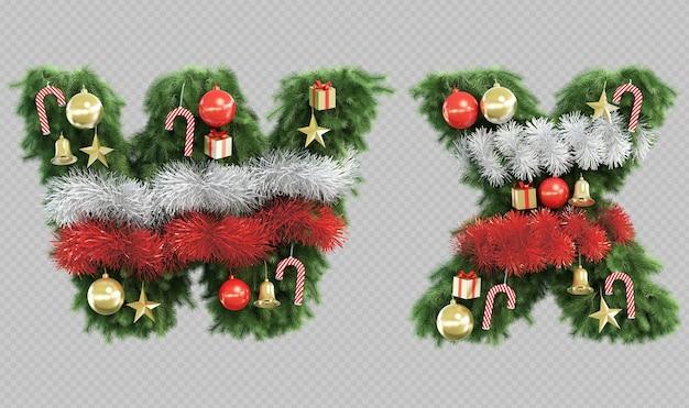 Renderização 3d da letra w e letra x da árvore de natal