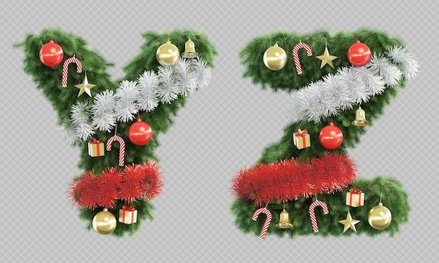 Renderização 3d da letra y e da letra z da árvore de natal