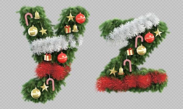 Renderização 3d da letra y e letra z da árvore de natal