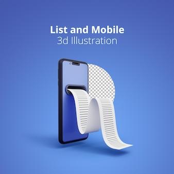 Renderização 3d da lista de compras no smartphone