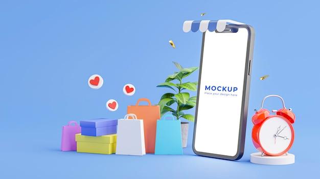 Renderização 3d da loja de smartphones com conceito de compras online
