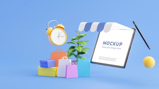 Renderização 3d da loja de tablets com conceito de compras online