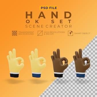 Renderização 3d da mão ok definido para o criador de cena