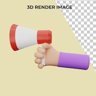 Renderização 3d da mão segurando o megafone premium psd