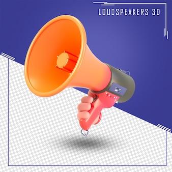 Renderização 3d da mão segure o alto-falante do anúncio