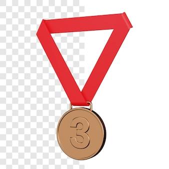 Renderização 3d da medalha de bronze isolada