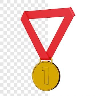 Renderização 3d da medalha de ouro isolada