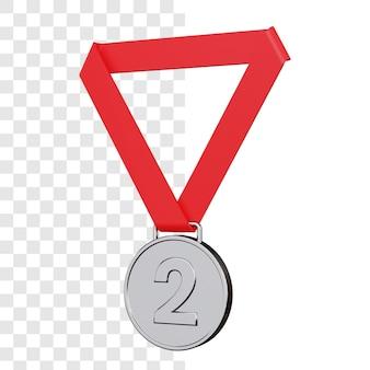 Renderização 3d da medalha de prata isolada