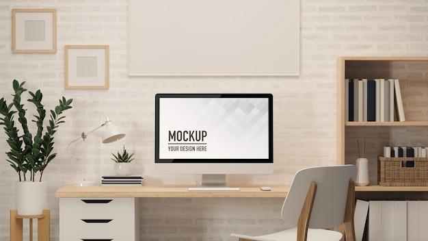 Renderização 3d da mesa do escritório em casa com computador