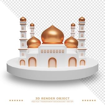 Renderização 3d da mesquita islâmica com cúpula cintilante