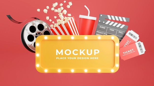 Renderização 3d da moldura do cinema com pipoca, tira de filme, badalo, ingressos e caneca