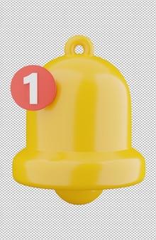 Renderização 3d da notificação do sino amarelo isolada