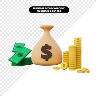 Renderização 3d da pilha de moedas do saco de dinheiro