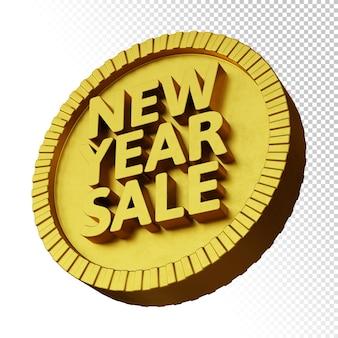 Renderização 3d da promoção de venda de ano novo com emblema circular em negrito dourado isolado