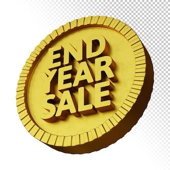 Renderização 3d da promoção de venda de fim de ano com emblema circular em negrito dourado isolado