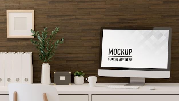 Renderização 3d da sala do escritório em casa com maquete do computador